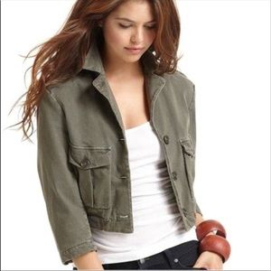 • James Perse • cropped military green jacket 2